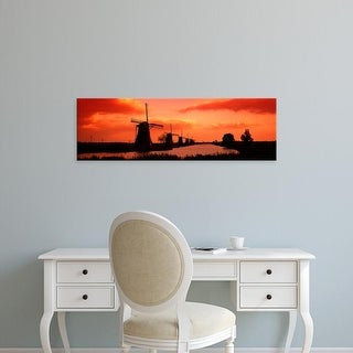 Easy Art Prints Panoramic Images's 'Windmills Holland Netherlands' Premium Canvas Art