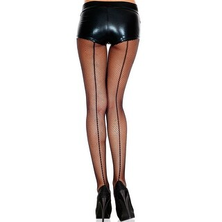Fishnet Pantyhose With Backseam, Fishnet Stockings With Back Seam - Black - One Size Fits most