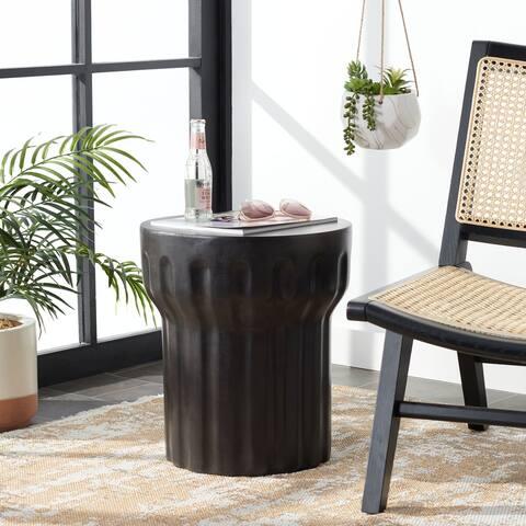 """SAFAVIEH Vesta Indoor/ Outdoor Modern Black Concrete Round Accent Table - 15.7"""" W x 15.7"""" L x 17.7"""" H"""