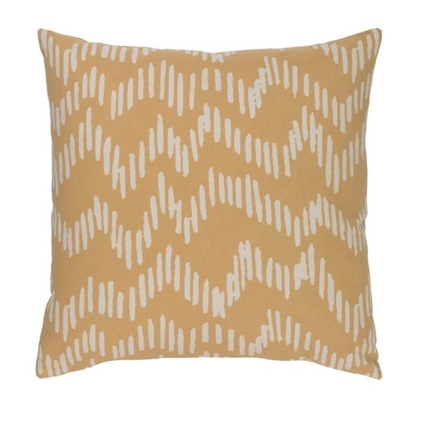 "18"" Broken Lines Canary Yellow and Khaki Brown Decorative Throw Pillow-Down Filler"
