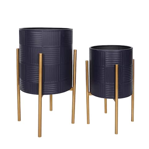 S/2 Textured Planter On Metal Stand, Navy/Gld