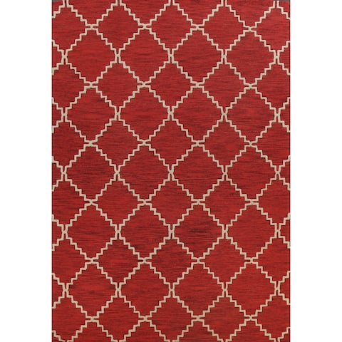 """Red Trellis Contemporary Oriental Area Rug Hand-tufted Wool Carpet - 9'0"""" x 12'0"""""""