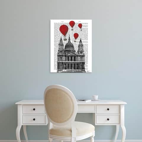 Easy Art Prints Fab Funky's 'St Pauls Cathedral and Red Hot Air Balloons' Premium Canvas Art
