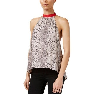 Free People Womens Casual Top Open Back Printed