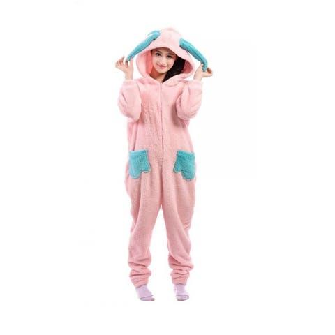 Unisex Adult Pajamas Cosplay Costume Animal one-piece Sleepwear Suit - Pink - XL