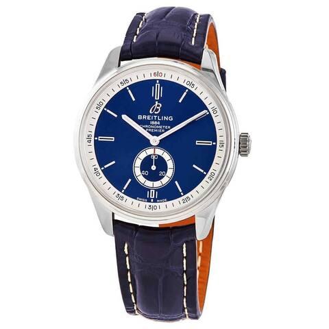 Breitling Men's A37340351C1P2 'Premier' Blue Leather Watch