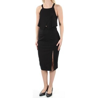 Womens Black Below The Knee Pencil Cocktail Dress Size: S