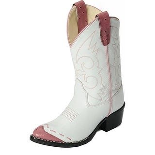 Old West Cowboy Boots Girls Kids J Toe PVC White Pink 1119WT
