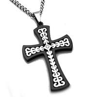 Stainless Steel Two Tone Celtic Cross Pendant w/ 0.02ctw CZ Center Stone - 24 inches