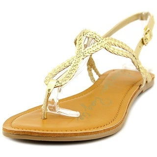 American Rag Keira Women Open Toe Synthetic Gold Thong Sandal