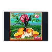 Redlands, CA - Rose Brand Citrus - Vintage Label (Acrylic Wall Clock) - acrylic wall clock