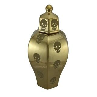 Embossed Skulls Polished Antique Gold Finish Decorative Lidded Jar 14 Inch