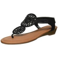 Rampage Womens Candia Open Toe Casual T-Strap Sandals