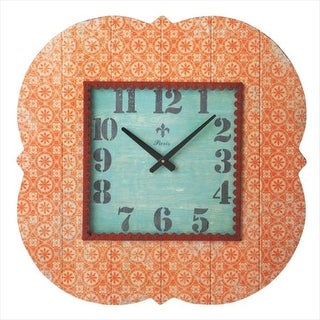 "24"" Distressed Finish Antique-Style Tangerine Orange Patterned Wall Clock"