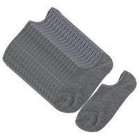 Unique Bargains Men Elastic Cuff Ribbed Ankle Socks Dark Gray 10 Pairs