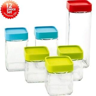 Glasslock 12-Piece Block Square Canister Set