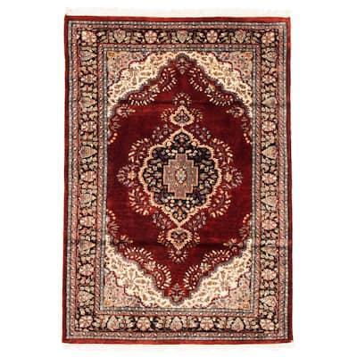 ECARPETGALLERY Hand-knotted Kashmir Dark Red Silk Rug - 4'0 x 6'0