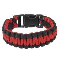 "Unique Bargains 9"" Girth Plastic Side Release Buckle Survival Bracelet Black Red"