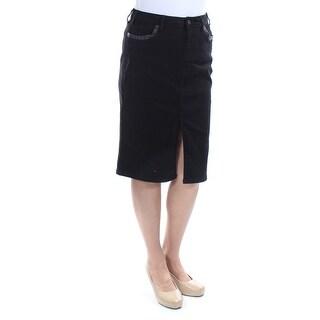 EARL JEAN $46 Womens New 1267 Black Slitted Faux Leather Trim denim Skirt 8 B+B