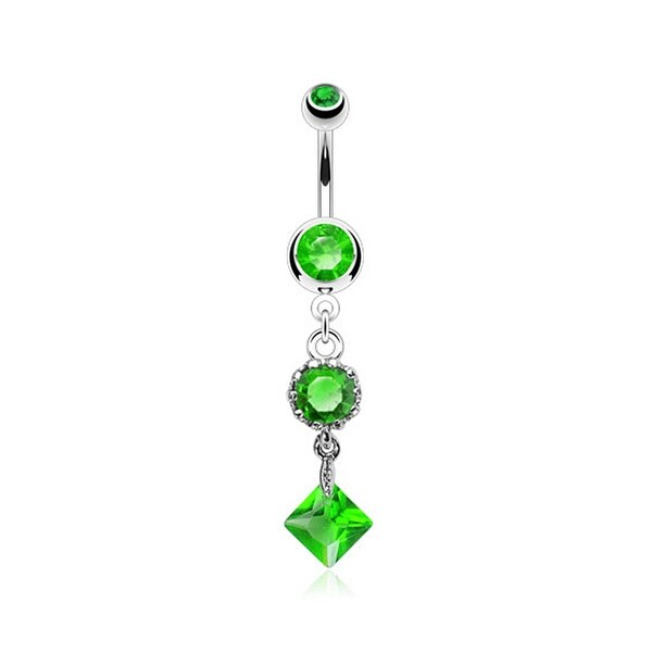 {Green]316L Steel Navel Belly Button Ring Press Fit Vintage Single Round and Square CZ Dangle (Sold Ind.)