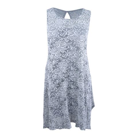Signature by Robbie Bee Women's Plus Sleeveless Embroidered Dress (14W, Grey) - Grey/White - 14W