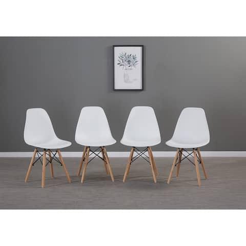 Moda White Simple Fashion Leisure Plastic Chair Set of 4