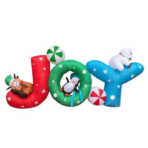 ALEKO Outdoor Yard Christmas Decoration 6 Foot Wide Inflatable Word Joy