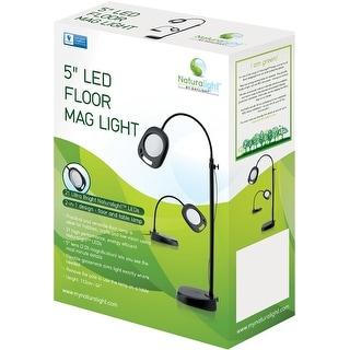 """Naturalight Led 5"""" Floor Magnifying Light-Black"""