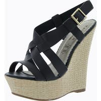 Kayleen Womens Husai-2 Fashion Wedge Sandals - Black - 8 b(m) us