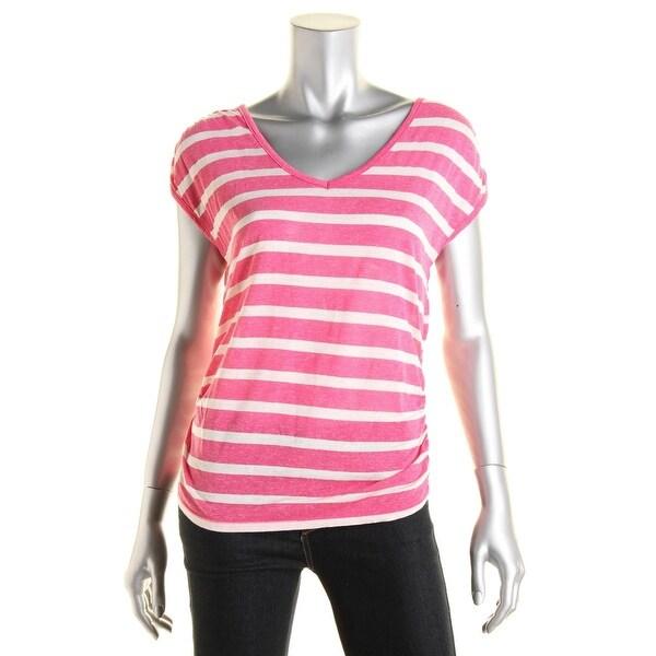 Pink Rose Womens Juniors Pullover Top Linen Blend Short Sleeves - S