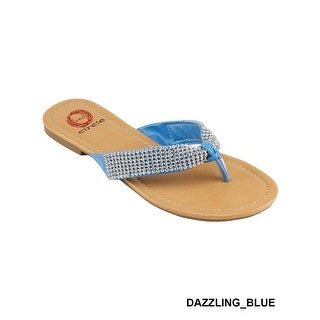 Red Circle Footwear Women's 'Dazzling' THONG WITH STONE STRAPS