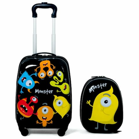 190b88089 Gymax 2PC Kids Luggage Set Backpack & Rolling Suitcase for School Travel ABS