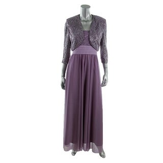R&M Richards Womens Mesh Glitter Dress With Jacket - 10