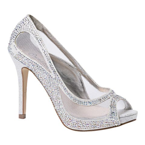 Sweetie's Shoes Silver Sheer Mesh Beaded Kylie Glamour Pumps 5.5-11 Womens