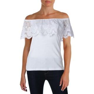 Lauren Ralph Lauren Womens Petites Blouse Lace Trim Off-The-Shoulder - pm
