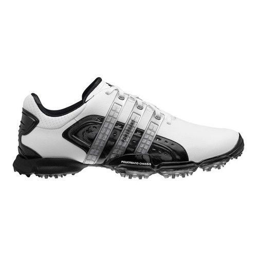 Adidas Mens Powerband 40 White Black Metallic Silver Golf Shoes