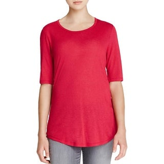 Vince Womens Pullover Top Silk Trim Boatneck