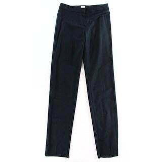 Armani NEW Blue Women's Size 8X36 Front-Tab Solid Dress Pants Wool
