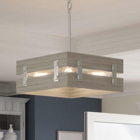 """Luxury Modern Farmhouse Pendant Light, 7""""H x 18""""W, with Transitional Style, Galvanized Steel, UHP3370 by Urban Ambiance"""