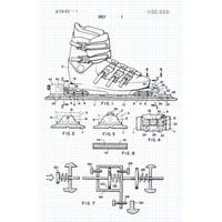 Ski Binding Patent Poster (Graphite on Blue Graph)-Sports Patents-24x16 Poster