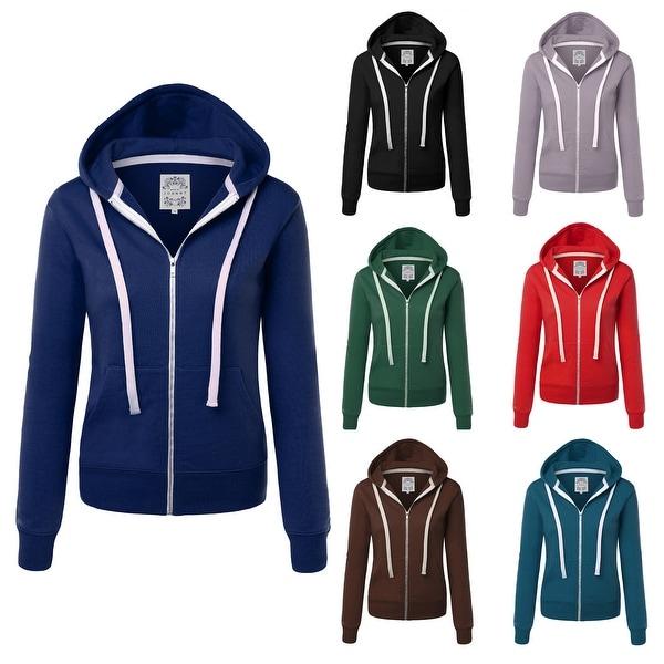 Made By Johnny Women's Casual Zip-up Hoodie Long Sleeve Sweatshirt. Opens flyout.