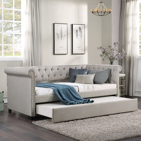 Fabric Upholstered Daybed with Trundle,Classic Style Sofa Bed,Twin