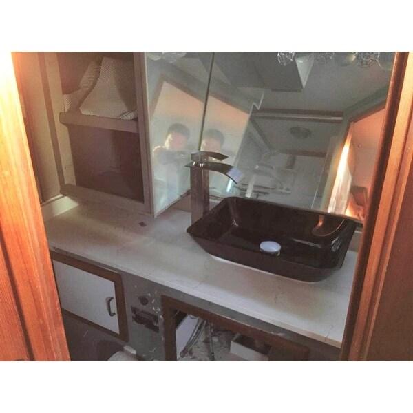 Shop VIGO Grey Onyx Glass Rectangular Vessel Bathroom Sink - On Sale