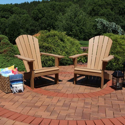 Sunnydaze All-Weather Adirondack Chair Set of 2- Faux Wood Design - Brown - Set of 2