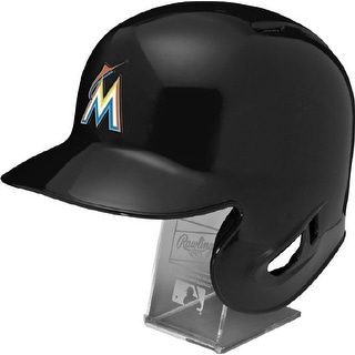 Miami Marlins Rawlings Full Size Batting Helmet  Left Ear Flap  with Display stand