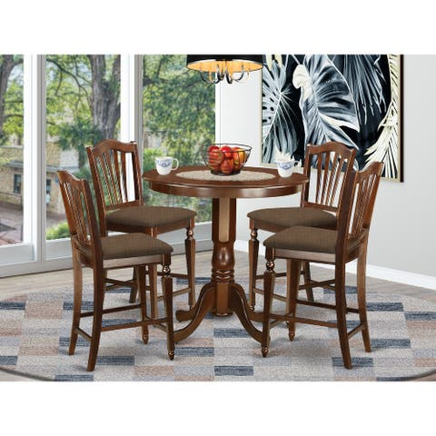 JACH5-MAH Mahogany Rubberwood 5-piece Counter Height Dining Table Set Including Table and 4-chairs