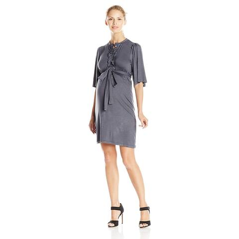Everly Grey Women's Maternity Lindsey Short Sleeve Button, Coal, Size Small