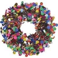 "F C Young 17"" Tinsel Wreath W/Dots DOT-RB Unit: EACH Contains 6 per case"