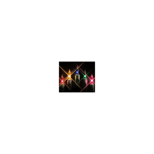 """Christmas at Winterland MINI-20-50-6-M String of Multicolor Mini Incandescent Lights w/ 6"""" Spacing & Green Wire Indoor / Outdoor"""