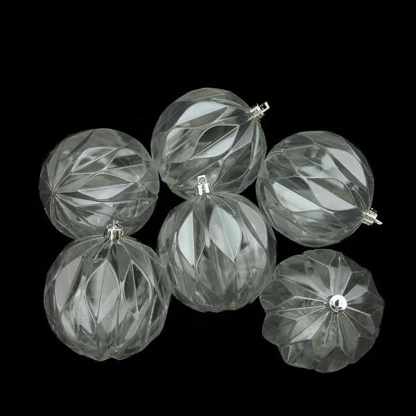 "6ct Clear Transparent Rhombus Cut Shatterproof Christmas Ball Ornaments 3"""